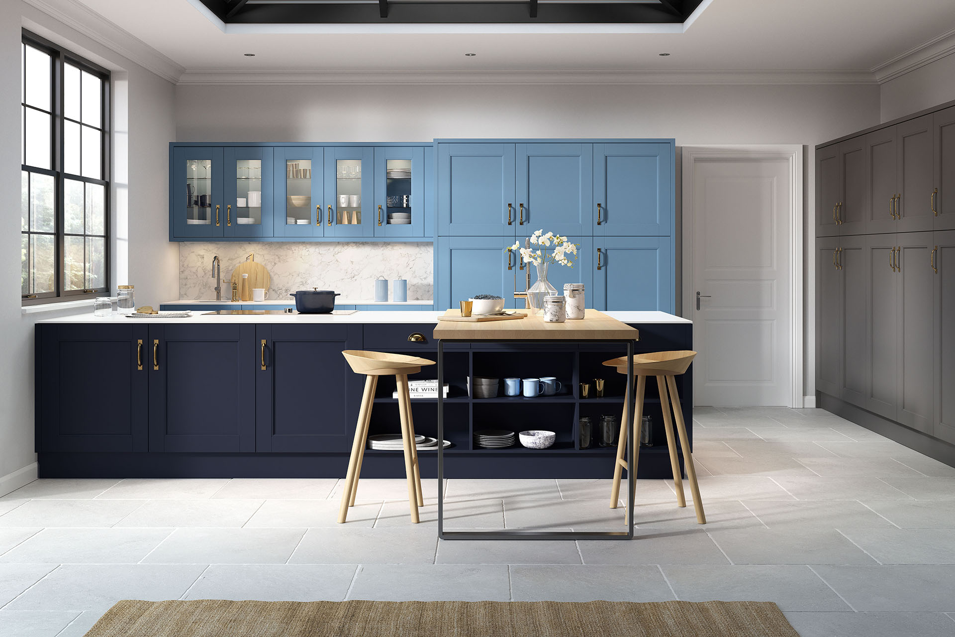 Abbey Painted Graphite Indigo Blue and Sky Kitchen